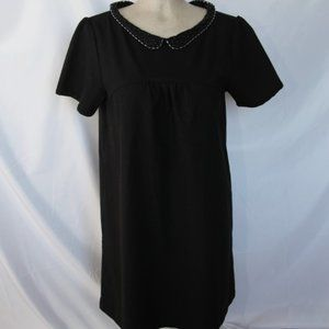 black dress with silver pearls on colar
